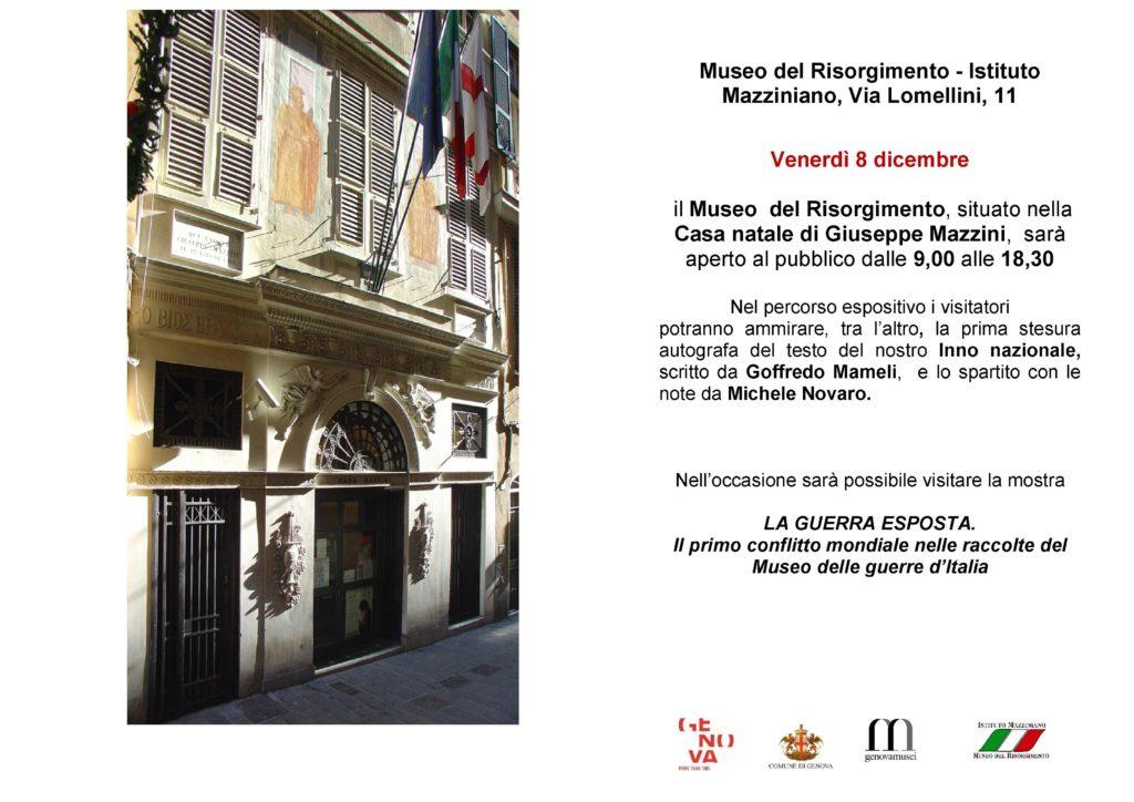APERTURA FESTIVA DEL MUSEO DEL RISORGIMENTO VENERDI 8 DICEMBRE